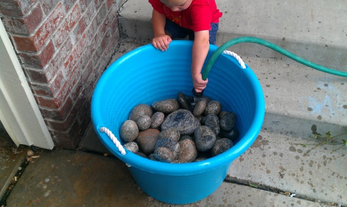 Jack Jack cleaning rocks